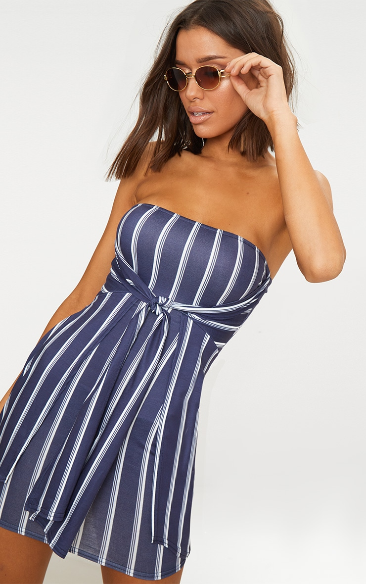 Navy Knot Front Bandeau Shift Dress  1