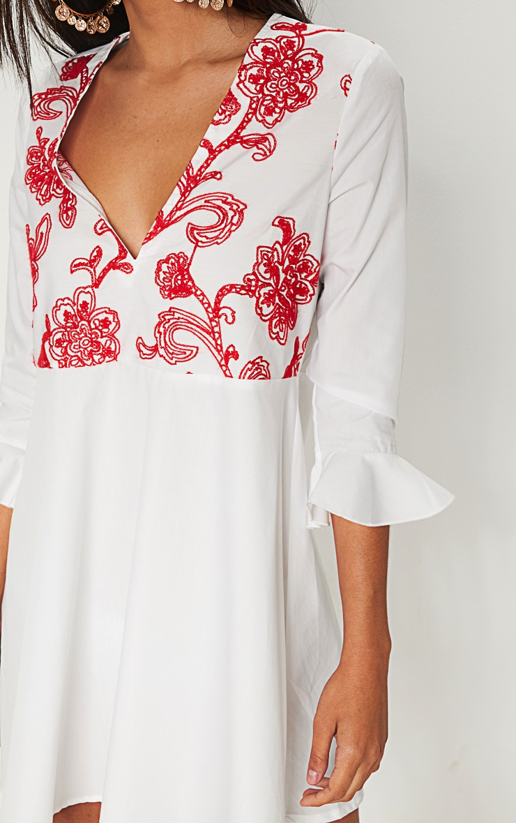 White Embroidered Frill Sleeve Smock Dress  5