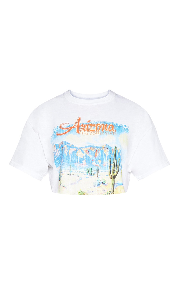 White Arizona Printed Slogan Crop T Shirt  4