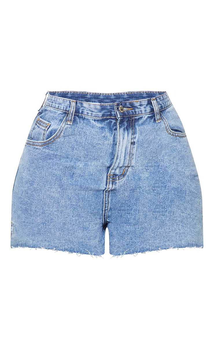 Plus Vintage Wash Split Hem Mom Shorts 6