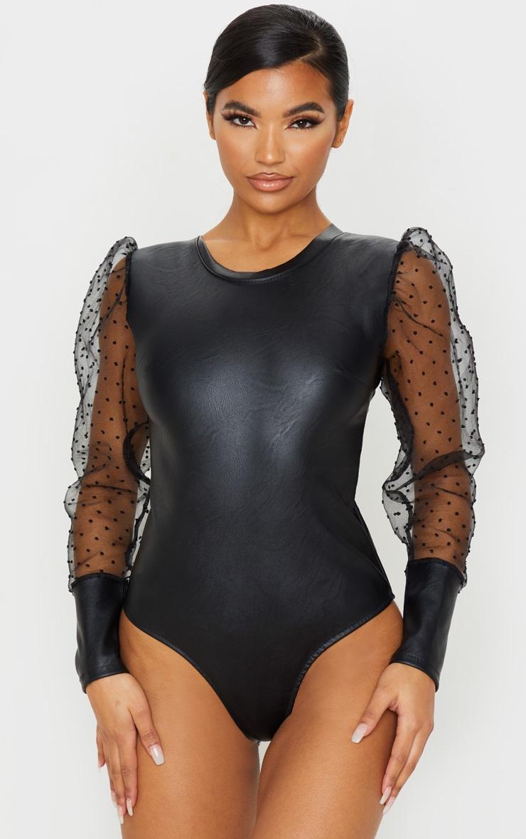 Black Pu Sheer Dobby Mesh Sleeve Bodysuit 2