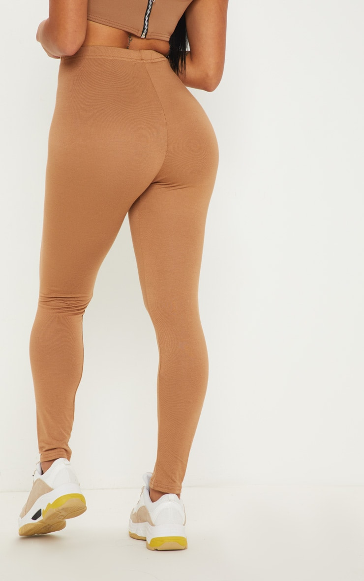 Petite Clarinda Camel Basic Leggings 4
