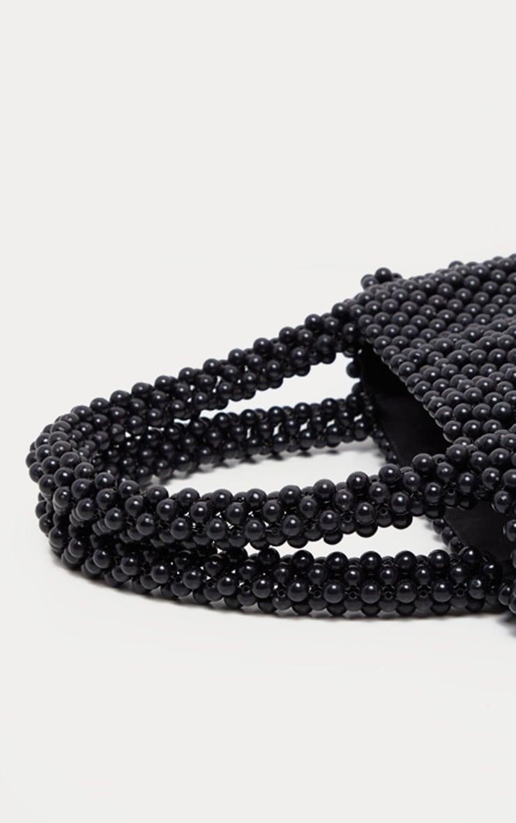 Sac à main carré en perles noires 5