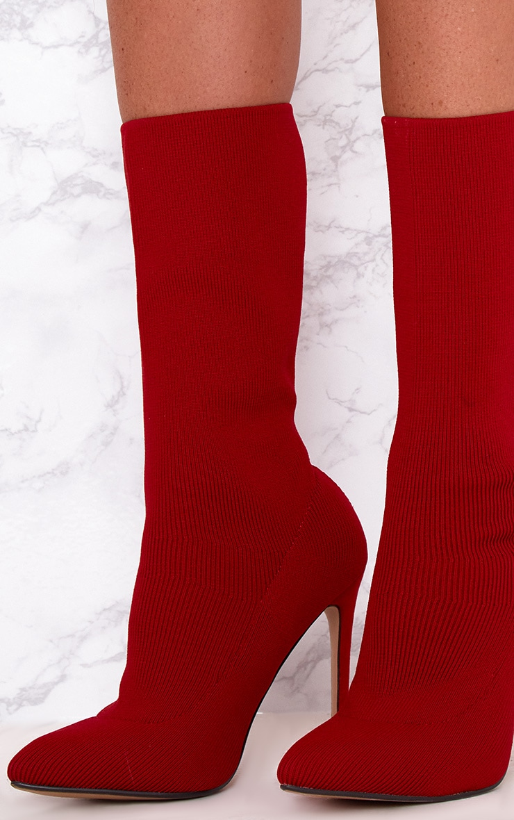 Red Knitted Pointy Sock Boots 5