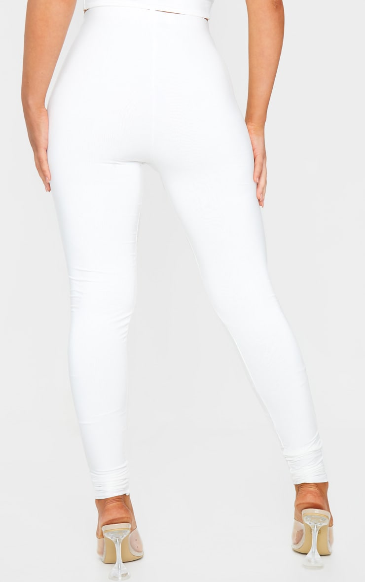 Cream Slinky High Waisted Leggings 3