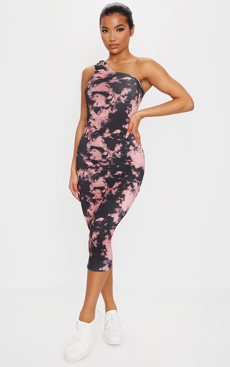 Pink Tie Dye Knot Detail One Shoulder Rib Midi Dress 1
