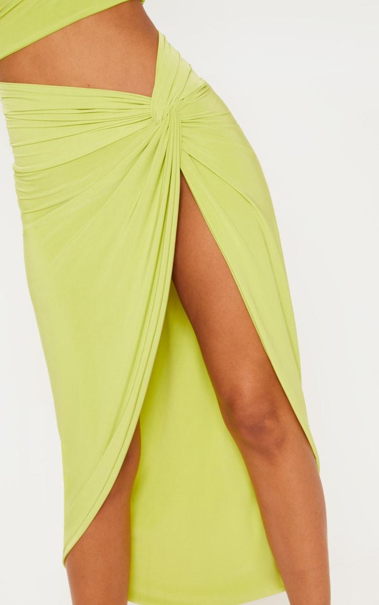 Petite Lime Slinky Knot Front Midi Skirt 5