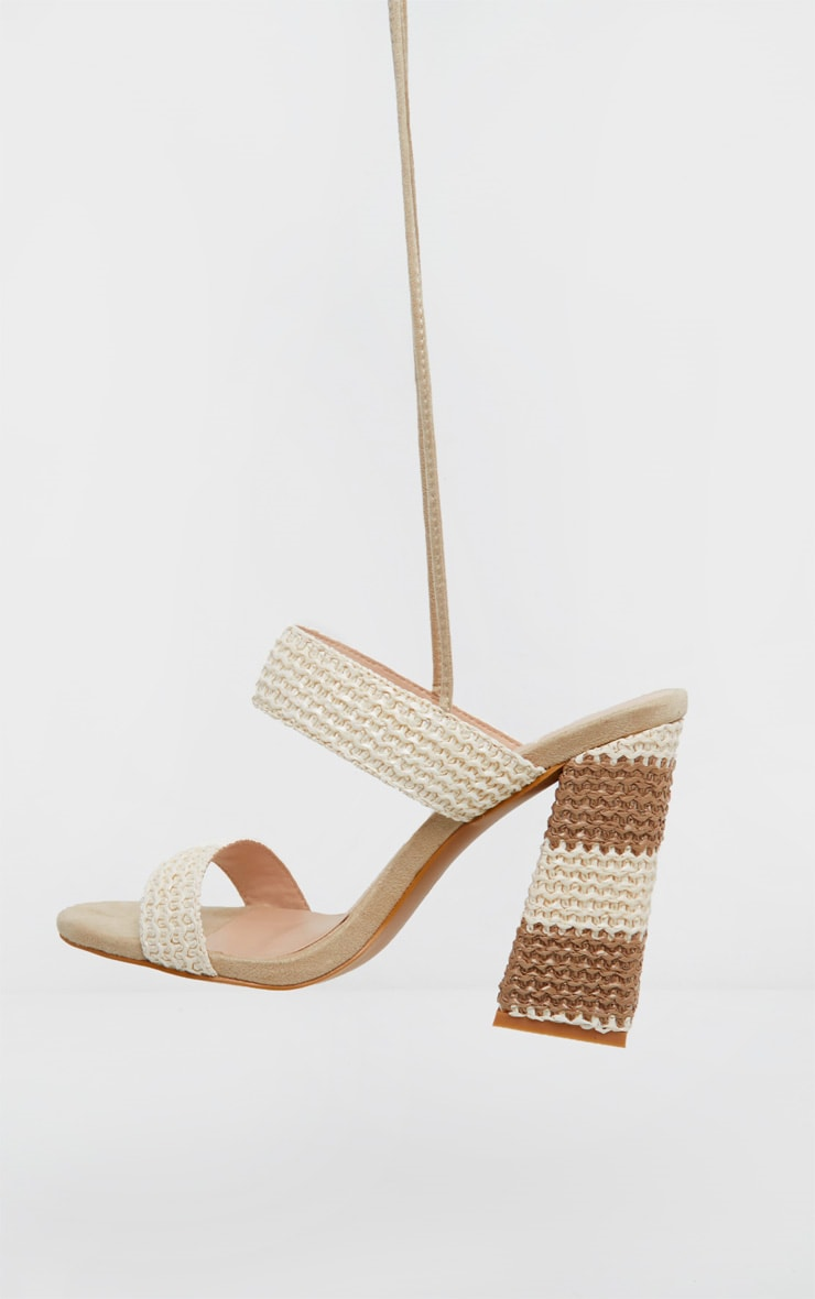 Natural Twin Strap Block Heel Ghillie Sandal 4