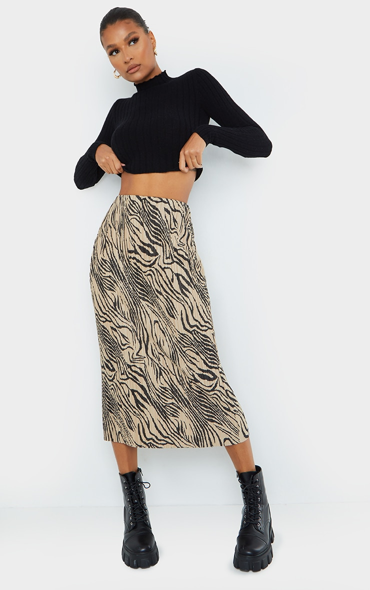 Zebra Print Plisse Printed Midi Skirt 1