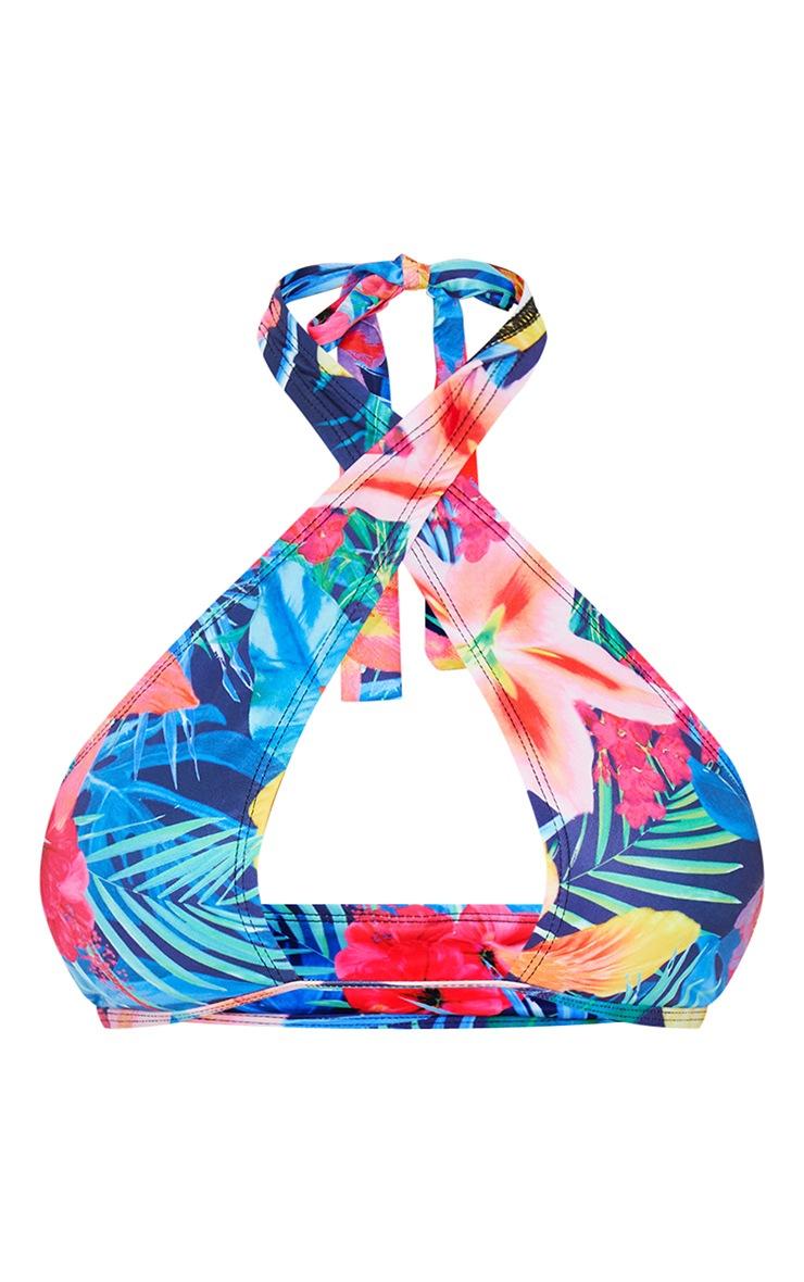 Multi Hyper Floral Cross Front Bikini Top 1