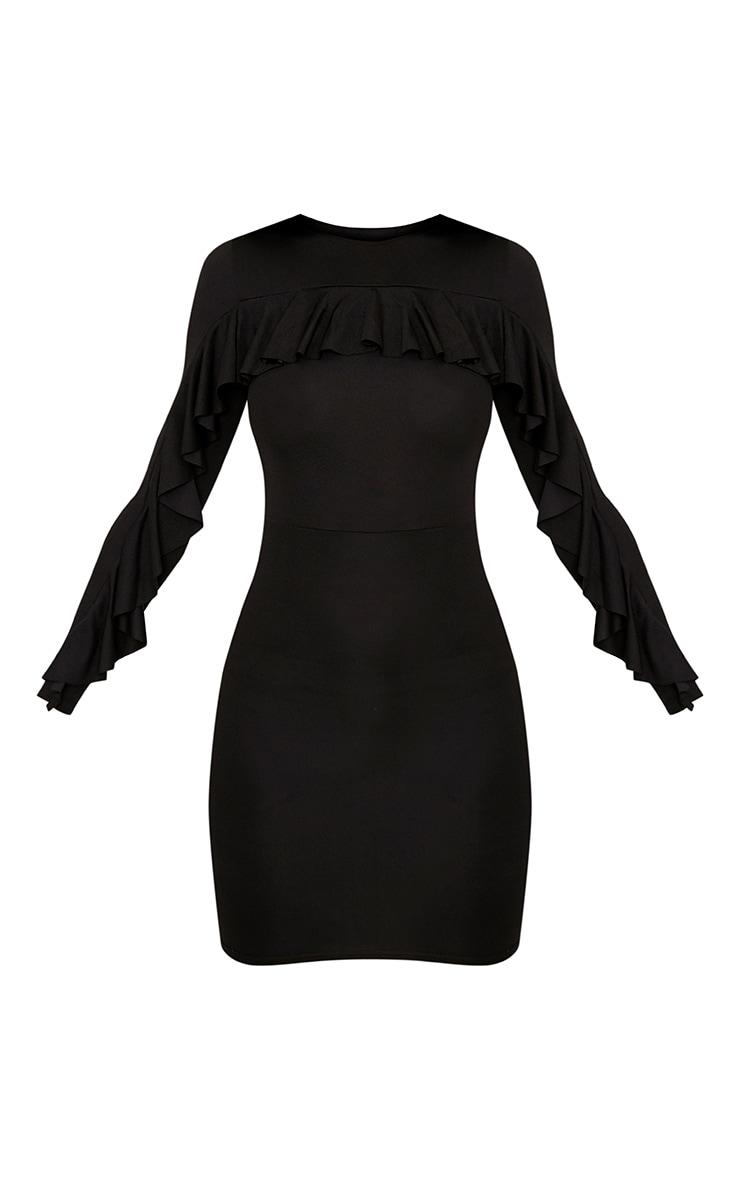 Rita Black Frill Sleeve Bodycon Dress 3