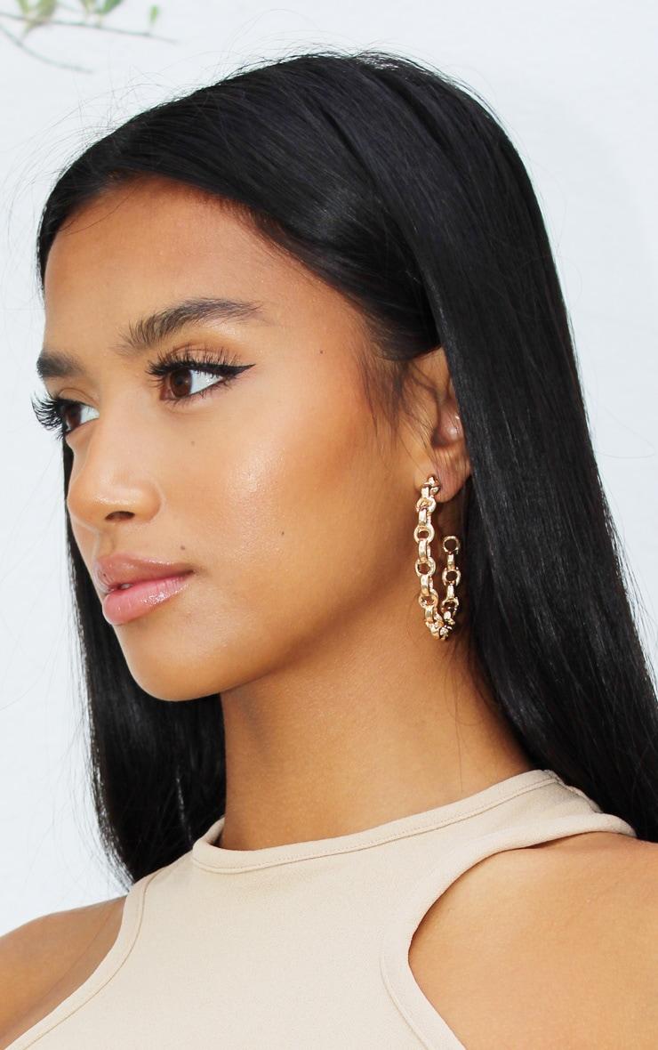 Gold Oversized Chain Twist Earrings 1