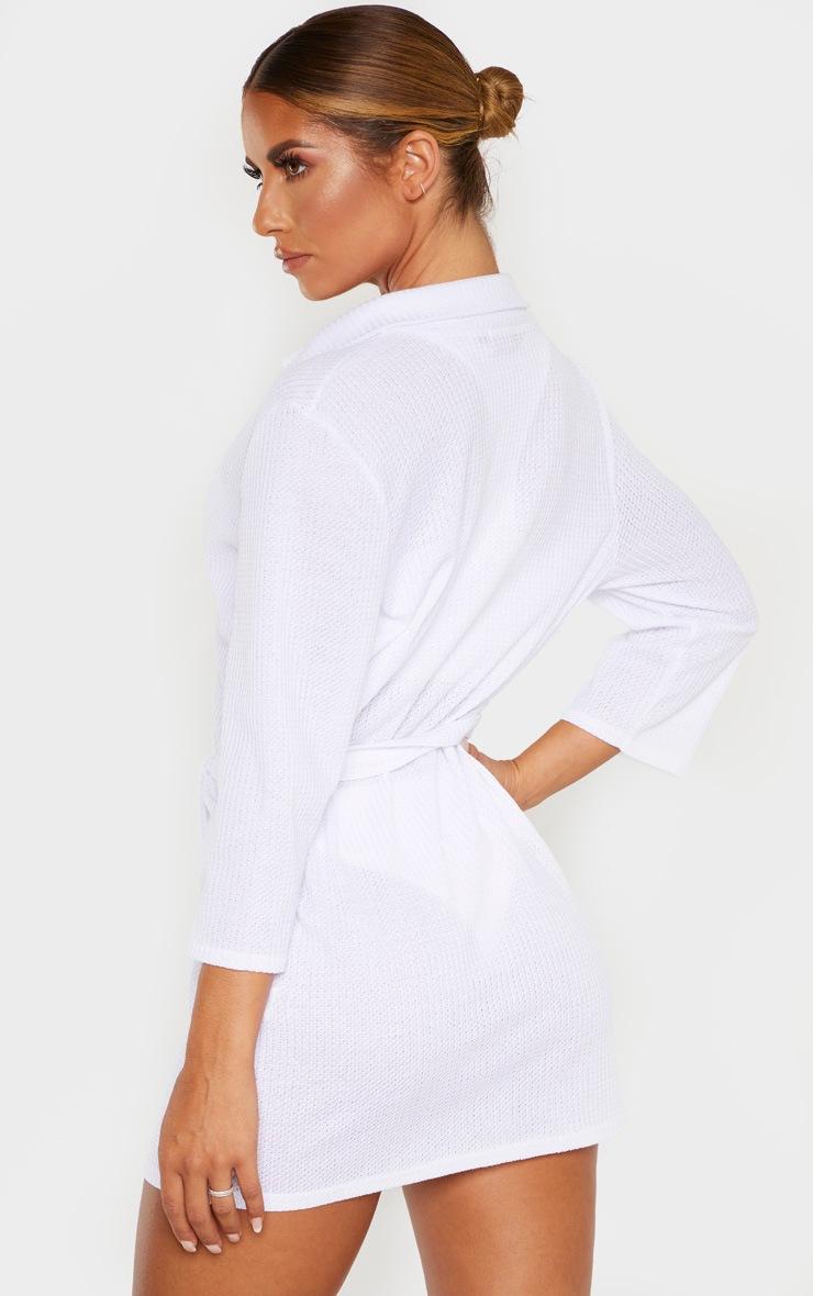 White Tie Waist Waffle Textured Beach Dress 2