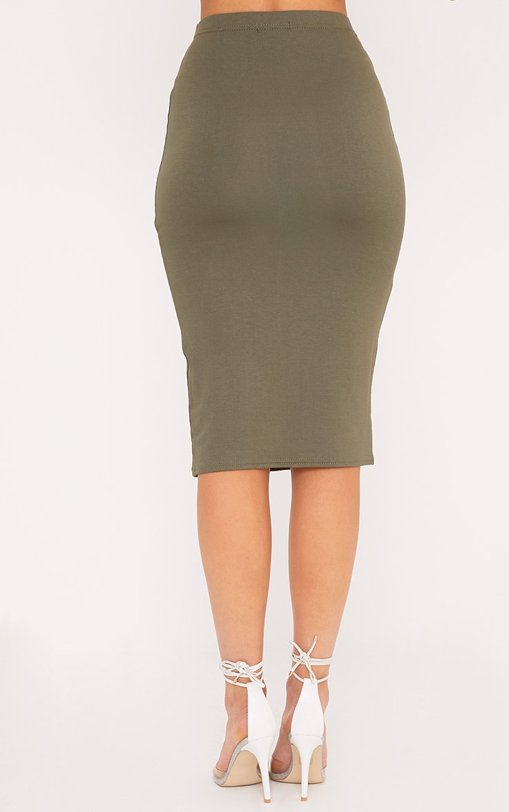 Basic Khaki Midi Skirt 4
