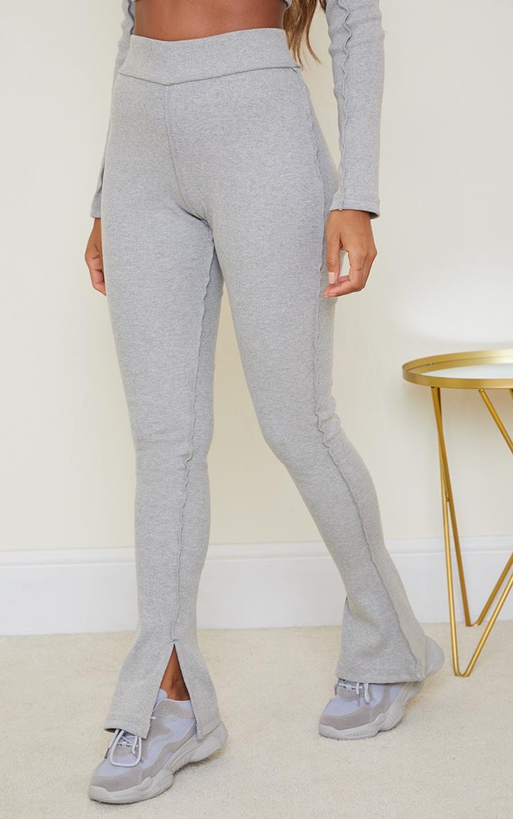 Grey Structured Rib Stitch Detail Split Hem Flared Pants 2
