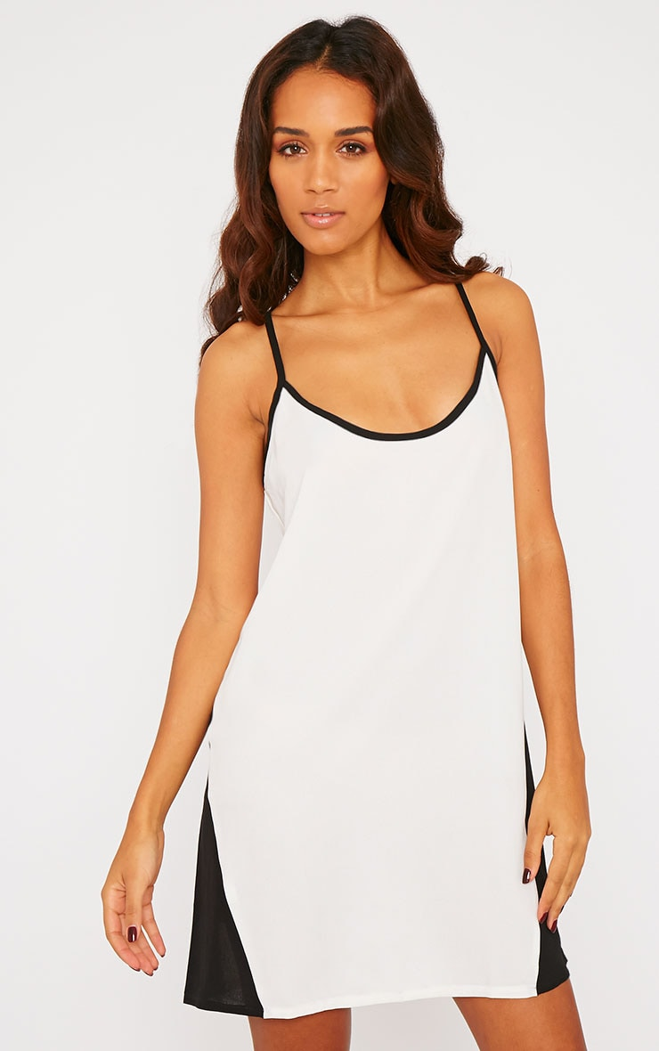 Raini Monochrome Chiffon Caged Back Swing Dress 1