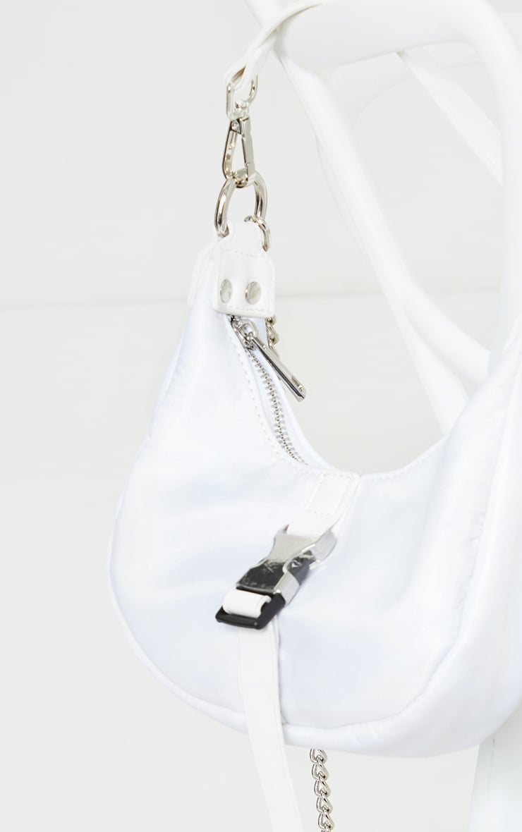 White Nylon Rounded Front Silver Buckle Shoulder Bag 4