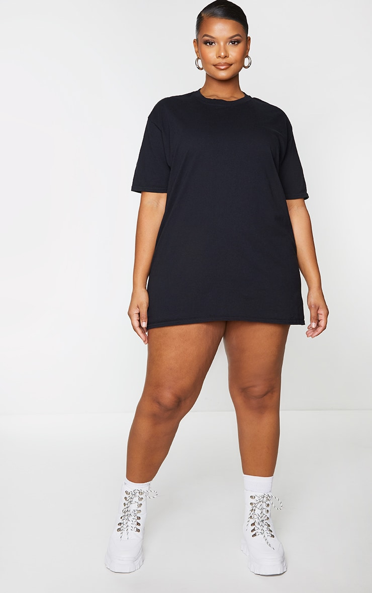 Plus 2 Pack Slogan & Plain T Shirt Dresses 3