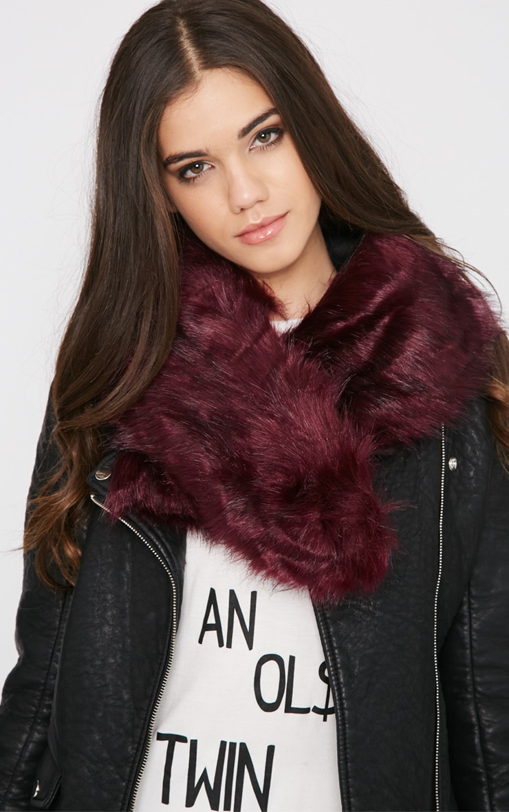 Kelby Plum Fur Collar 1