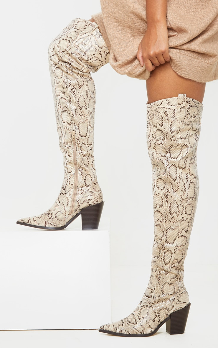 Beige Snake Over The Knee Western Heel Point Toe Boot 2
