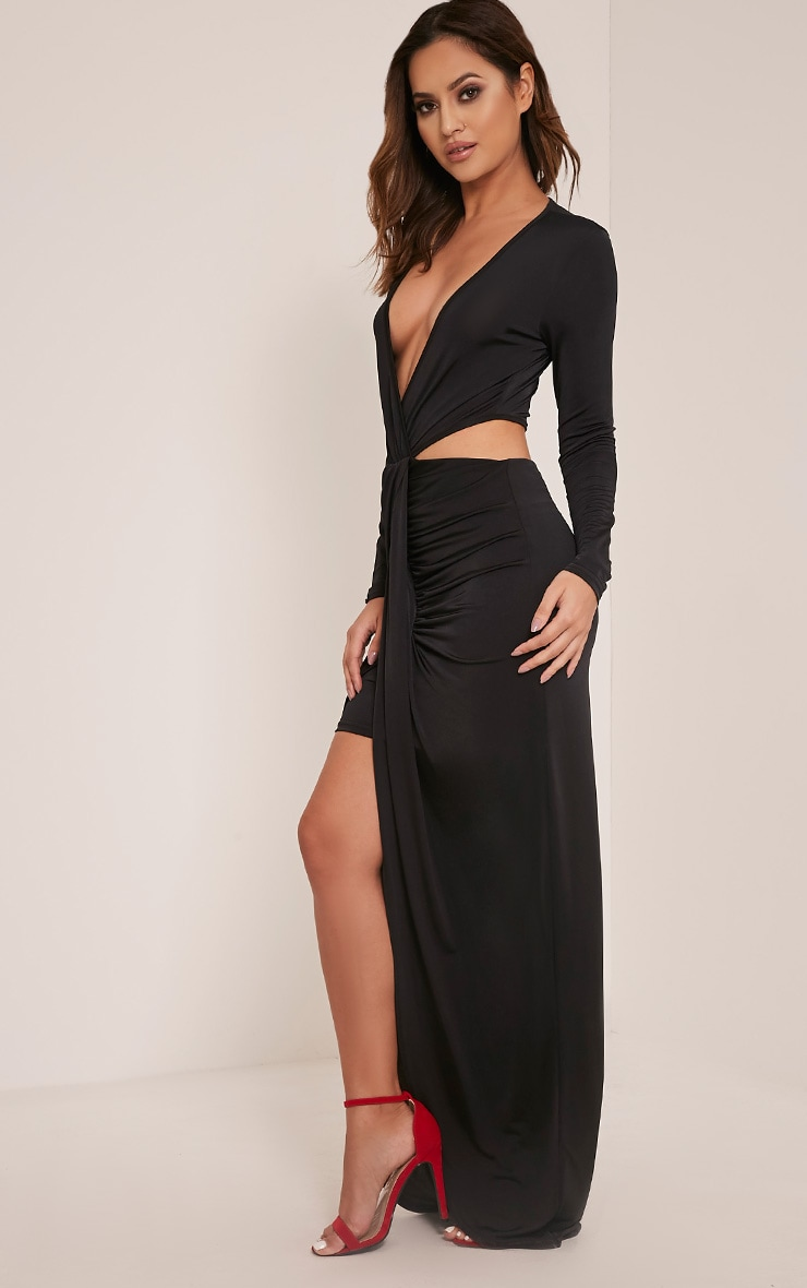 Bria Black Wrap Front Drape Detail Maxi Dress 3