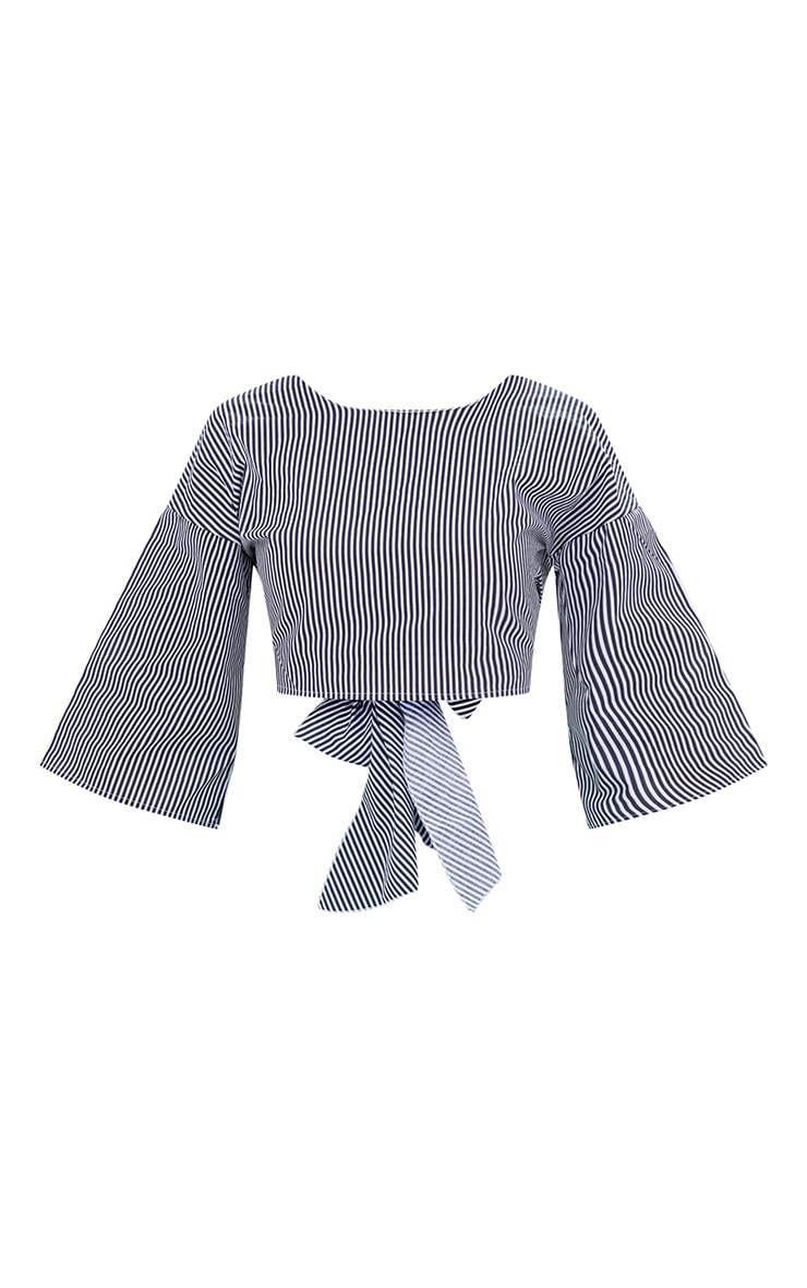 Blue Flare Sleeve Stripe Tie Back Shirt 3