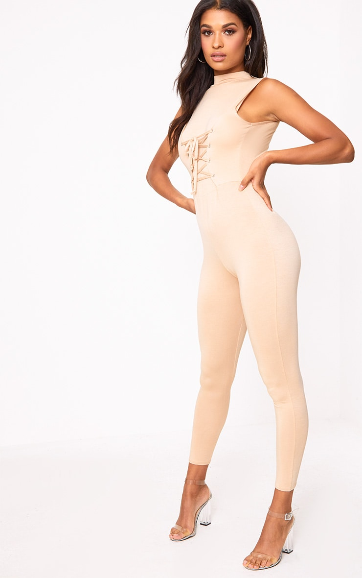 Amani Nude Corset Front Jersey Jumpsuit  4