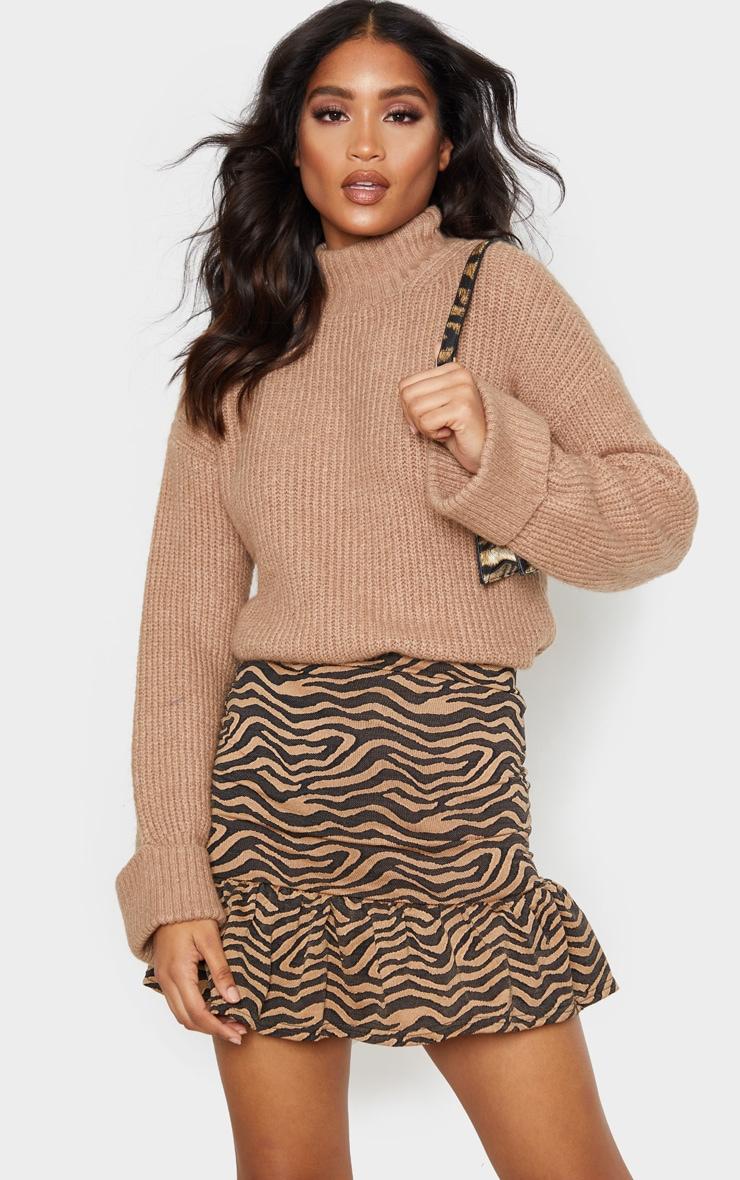 Tan Zebra Print Flippy Hem Mini Skirt 5