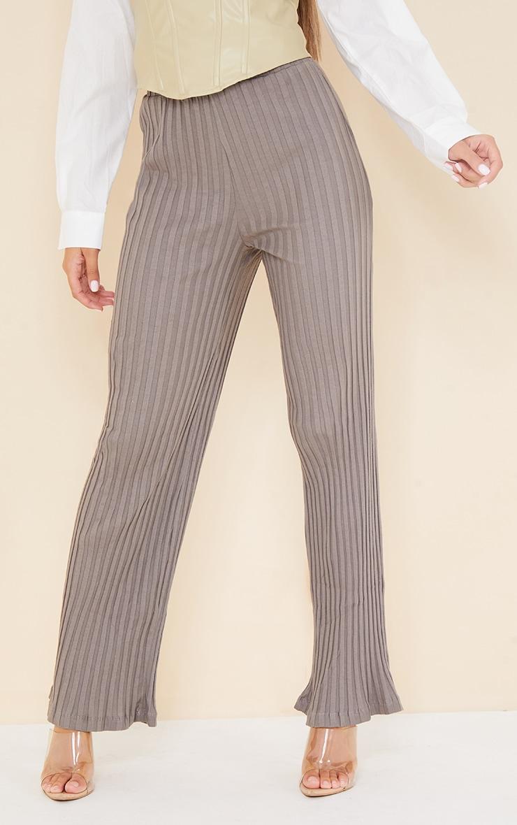 Charcoal  Jumbo Cotton Rib Wide Leg Pants 2