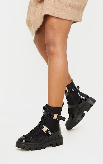 Black Buckle Detailed Lace Up Cleated Ankle Boot