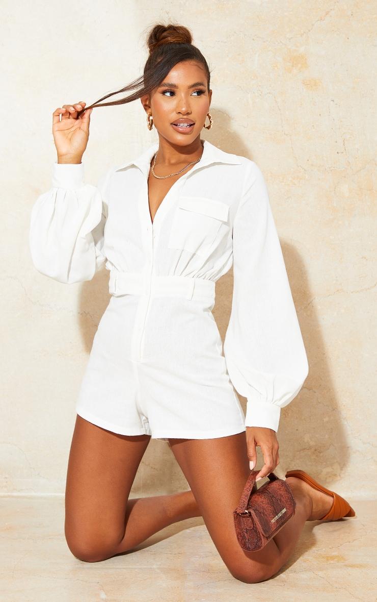 Cream Linen Look Shirt Playsuit 1