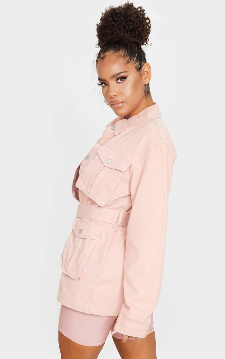 Peach Belted Cargo Denim Jacket 2