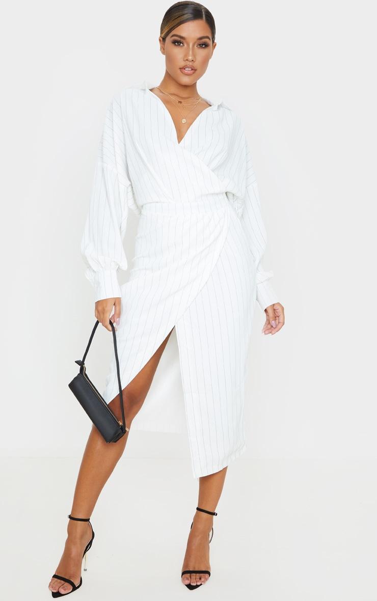 White Pinstripe Midi Shirt Dress 1