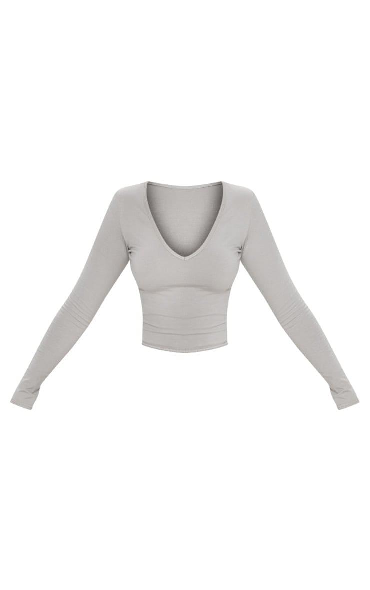 Essential Grey Marl Cotton Blend Longline Long Sleeve Top 3