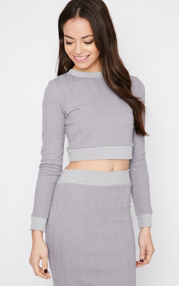 Deni Grey Cable Knit Crop Sweater  4