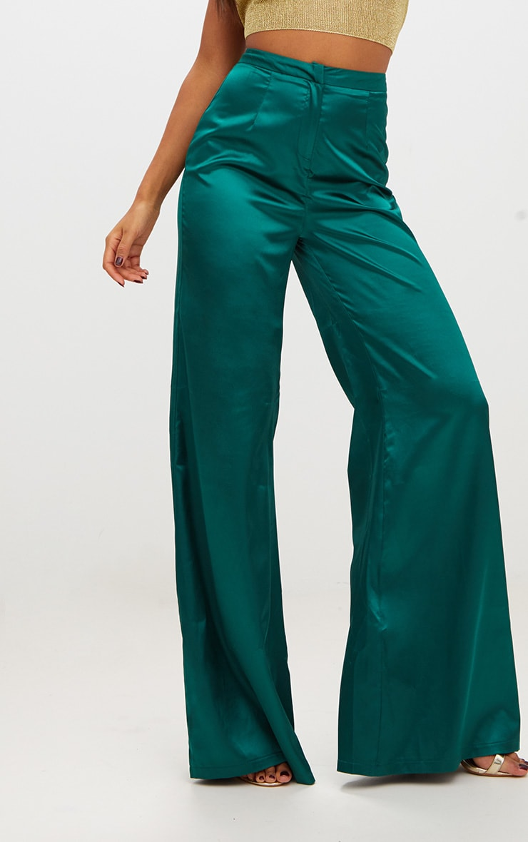 Forest Green Satin Wide Leg Trousers 5