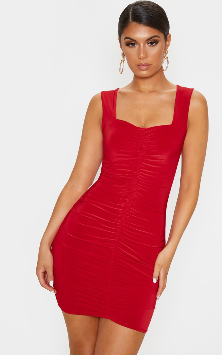 Red Slinky Ruched Front Square Neck Bodycon Dress 1
