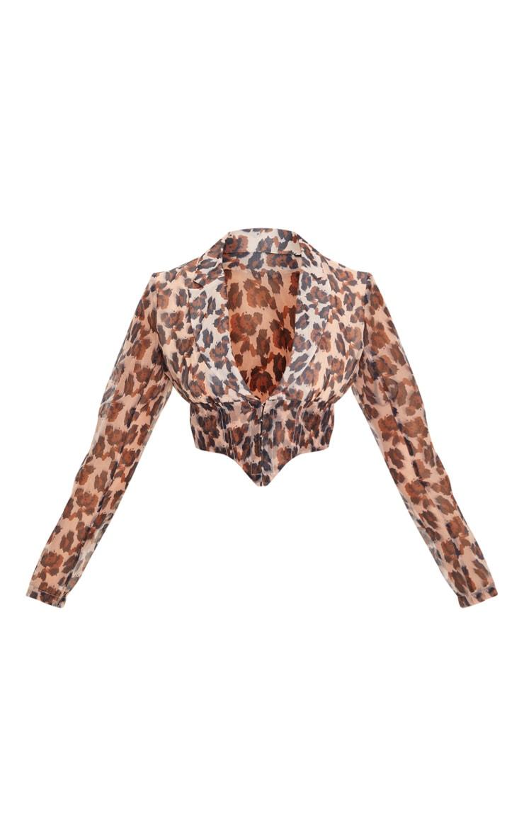 Chemise en organza transparent imprimé léopard à ourlet pointu 3