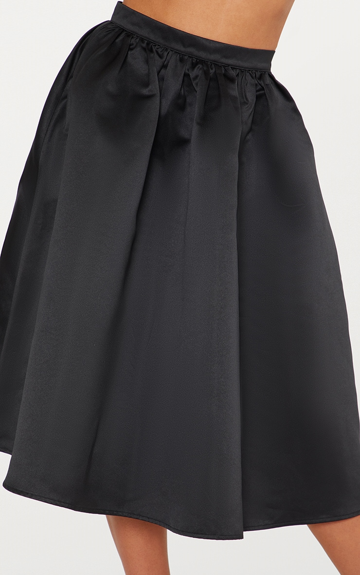 Black Satin Full Midi Skirt  4