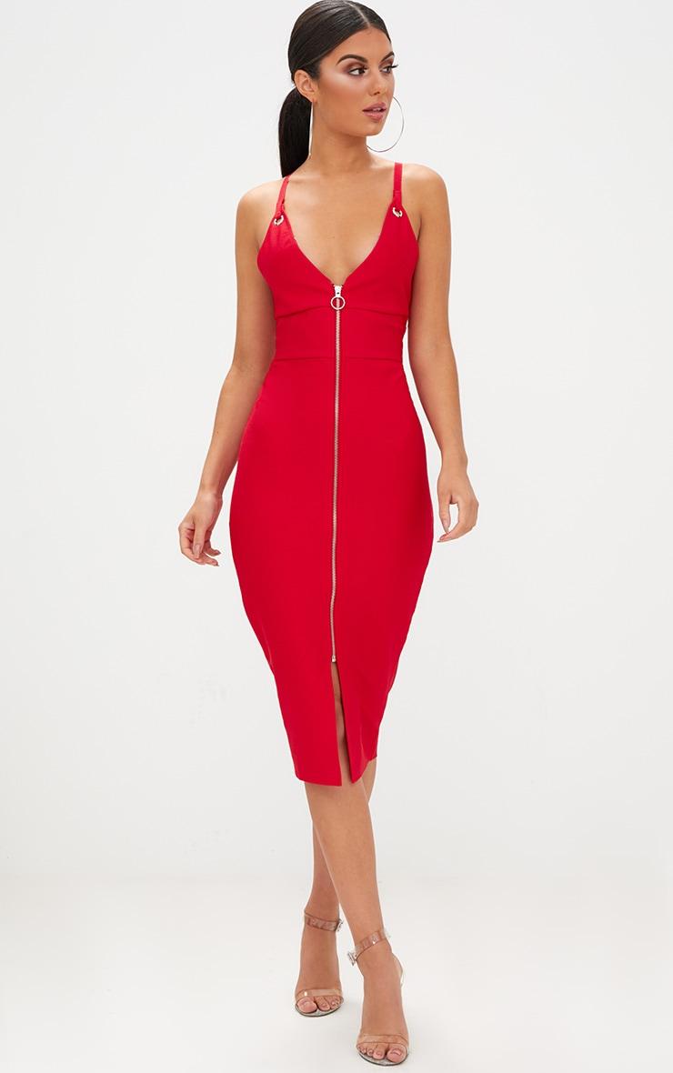 Red Bandage Strappy O Ring Midi Dress  4