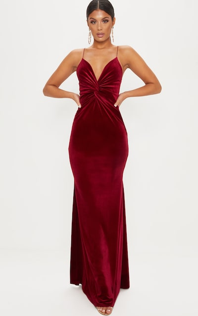 ab55c38d88d9 Wine Velvet Knot Front Maxi Dress