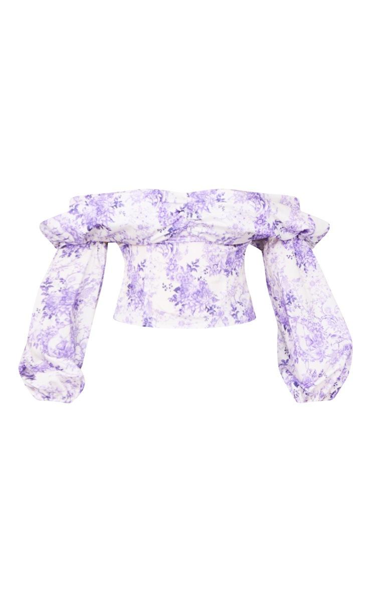 Lilac Porcelain Print Satin Bardot Puff Sleeve Crop Top 5