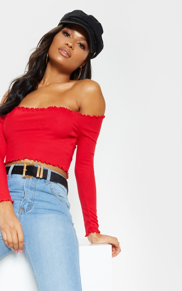 Red Frill Edge Crop Top 5