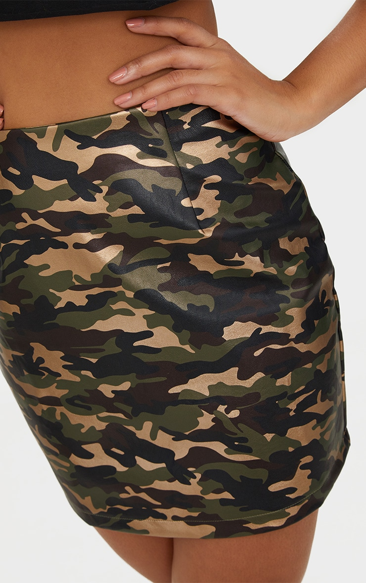 Khaki Faux Leather Camo Print Mini Skirt 6