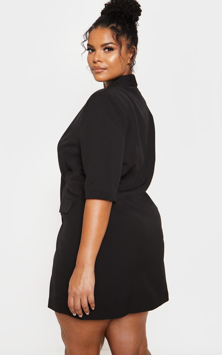 Black 3/4 Sleeve Blazer Dress 3