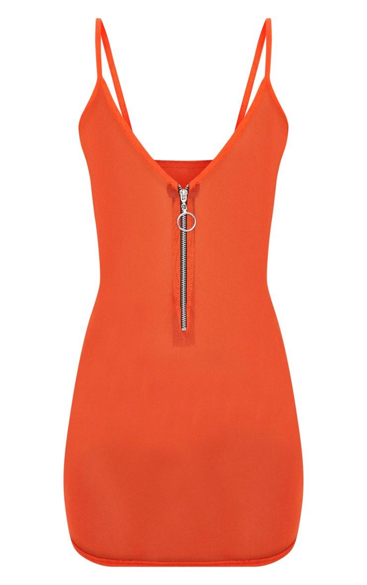 Orange Mesh Zip Front Strappy Bodycon Dress 3
