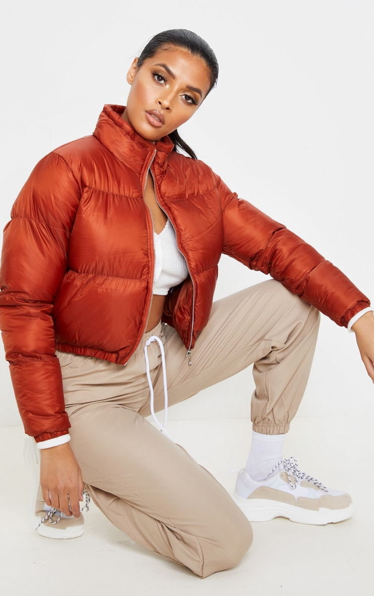 Rust Cropped Bubble Puffer Jacket 4