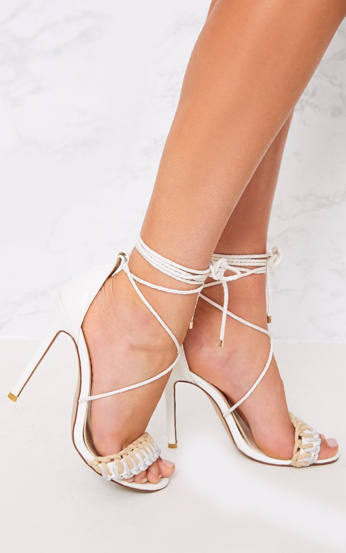 Enya White Contrast Piping Lace Up Heels  2