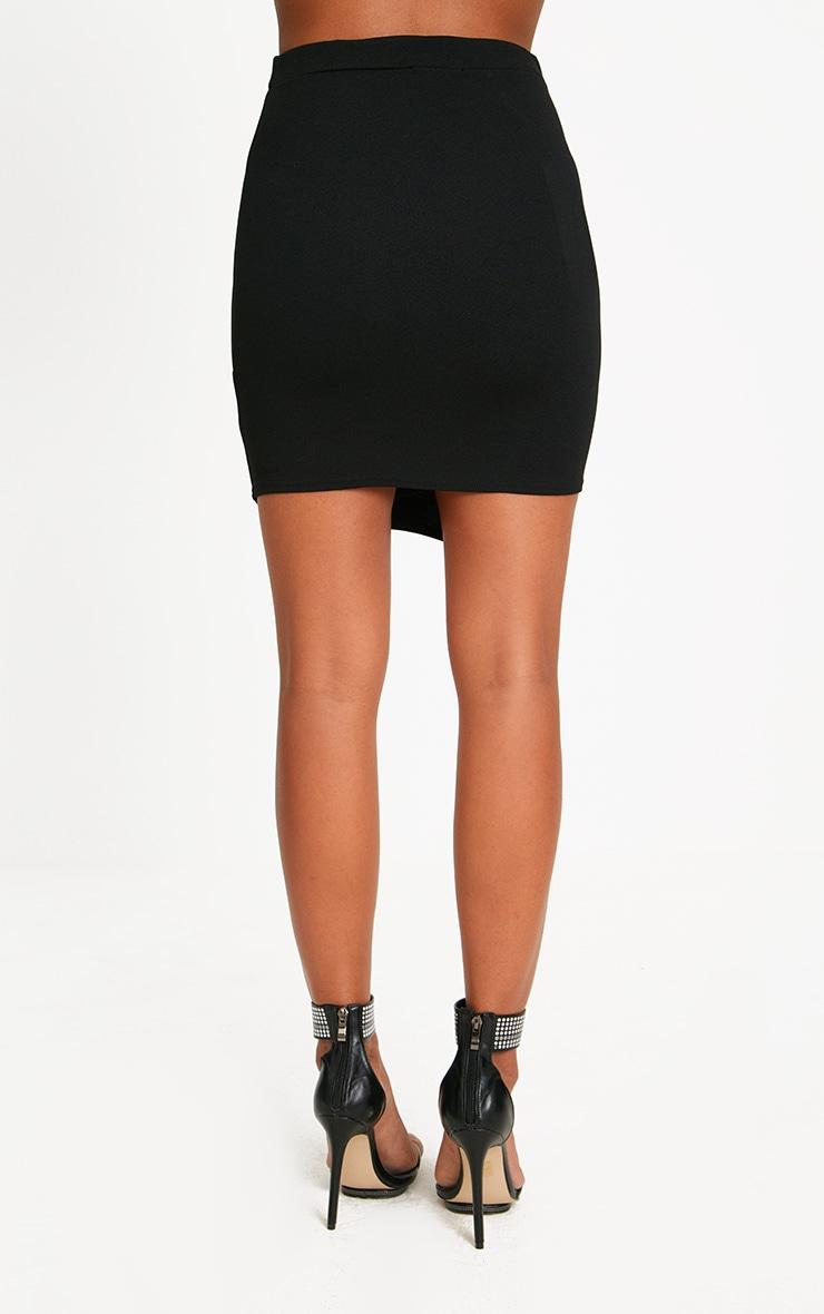 Black Lace Up Asymmetric Hem Mini Skirt 4