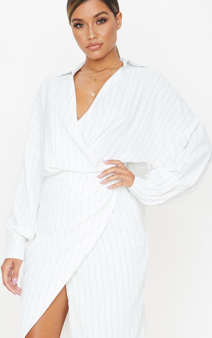 White Pinstripe Midi Shirt Dress 5